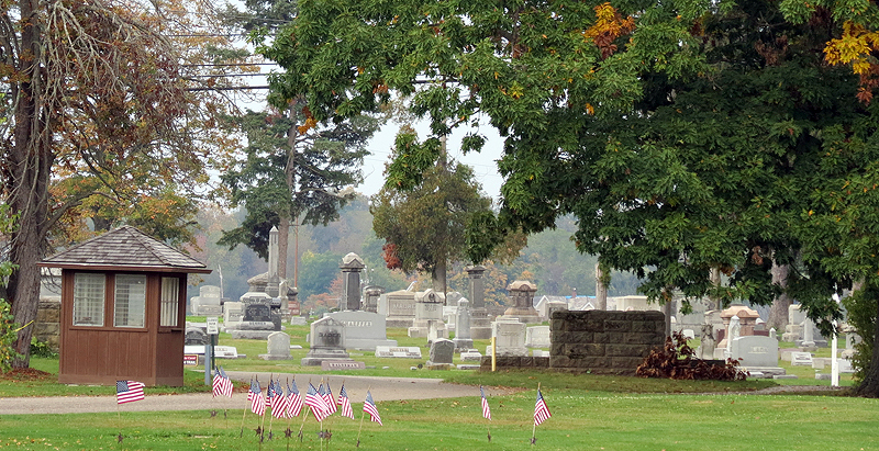 Fort Laurens Cemetery, as viewed from the Fort Laurens State Memorial site.