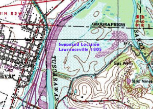 Lawrenceville 1805 projected location on map