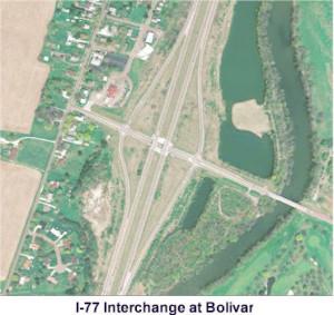Aerial view of I-77 at Bolivar